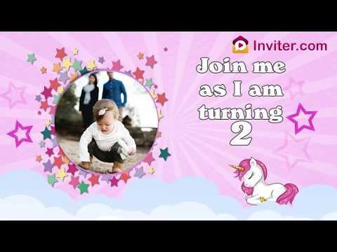Unicorn Themed Birthday Party Video Invitation | Inviter.com
