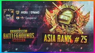 PUBG MOBILE LIVE | #25 RANKED PLAYER ASIA SERVER | CONQUEROR GAMEPLAYS ONLY
