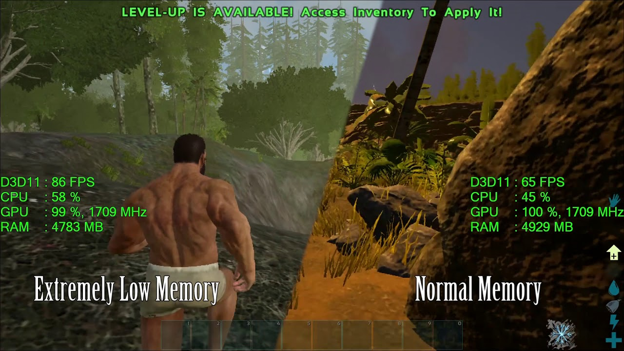 ARK Survival Evolved Extremely Low Memory Launch vs Normal Launch Settings  Test