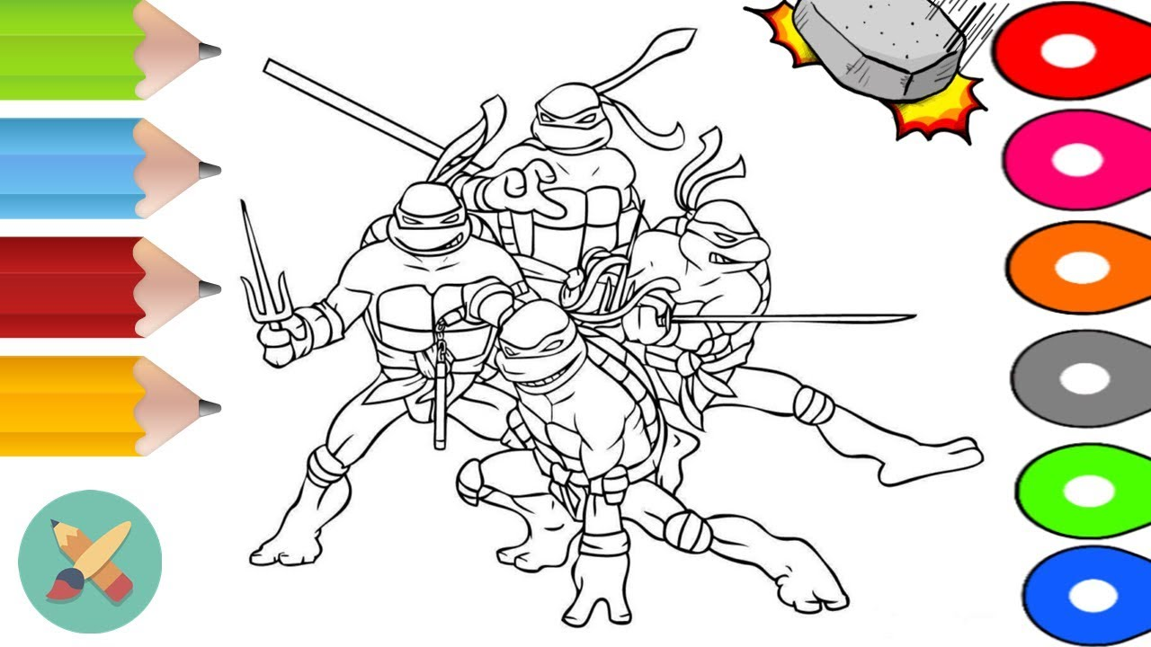 tmnt ninja turtles coloring book learn colors coloring pages
