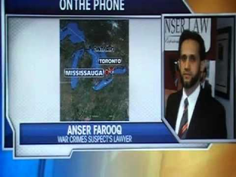 Toronto Lawyer, Anser Farooq, defends his client from allegations of war crimes.