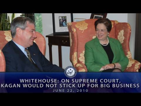 Whitehouse: Sup. Ct., Kagan Would Not Stick Up For Big Business
