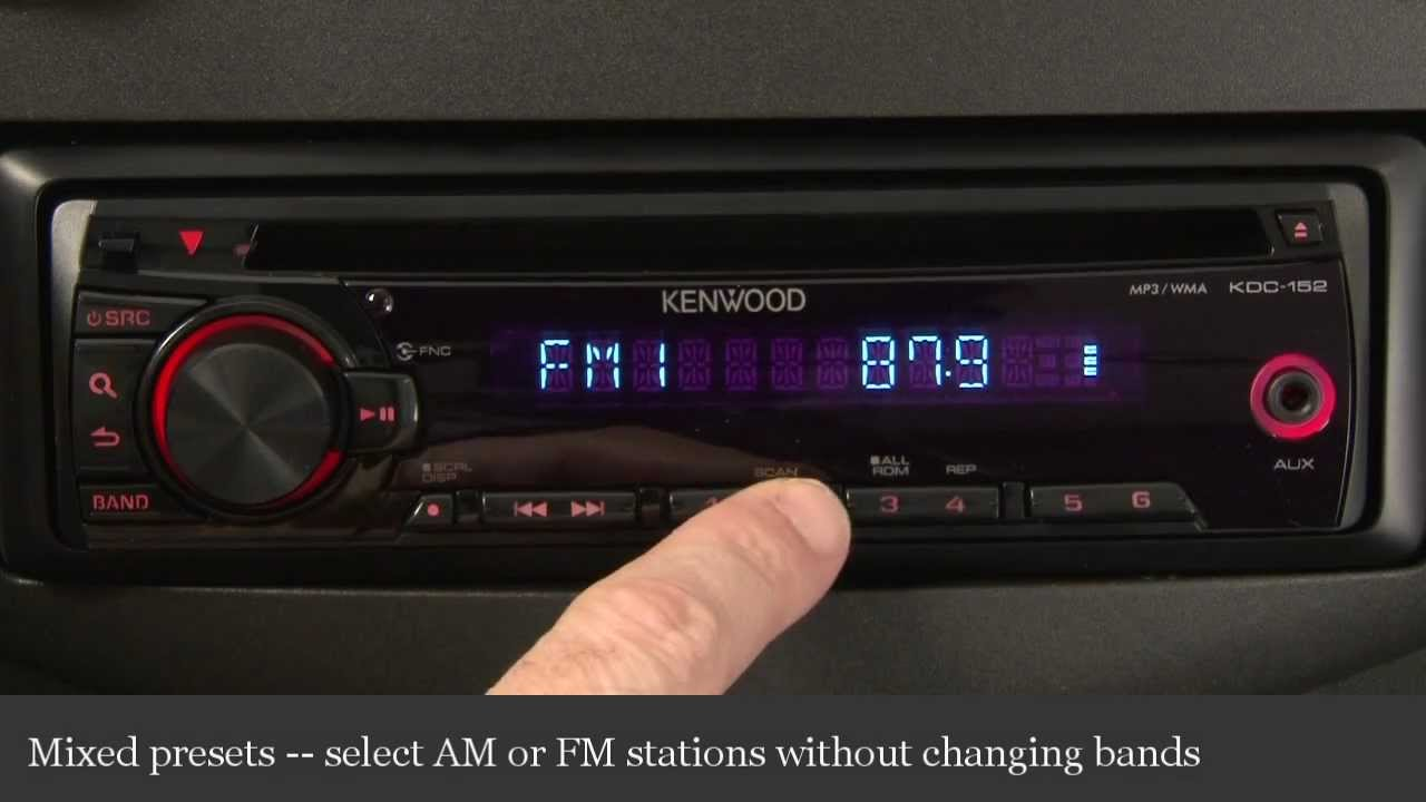 kenwood kdc-152 cd receiver display and controls demo | crutchfield video -  youtube  youtube