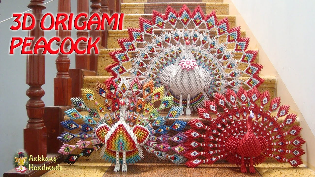 3D Origami Peacock with 19 Tails 1538 pieces - YouTube | 720x1280