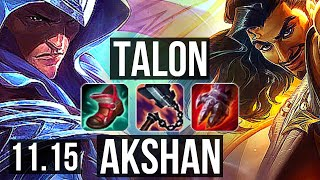 TALON vs AKSHAN (MID) | 12/1/9, Godlike | KR Diamond | v11.15