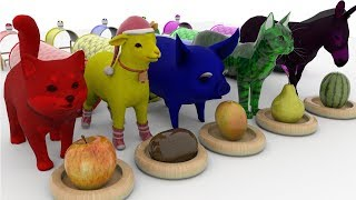 Farm Animals Eat Fruits Rhymes For Children - Cartoon Animals For Kids