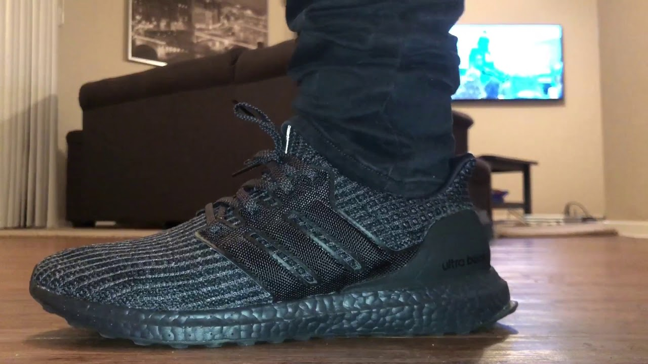 e9f3befcb43e4 Triple black Adidas ultra boost 4.0 on feet   dress tutorial 🔥🔥🔥