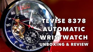 REVIEW OF $16 TEVISE 8378 AUTOMATIC WRISTWATCH - ALIEXPRESS UNBOXING
