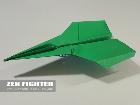 papierflieger selbst basteln papierflugzeug falten beste origami flugzeug zen fighter youtube. Black Bedroom Furniture Sets. Home Design Ideas