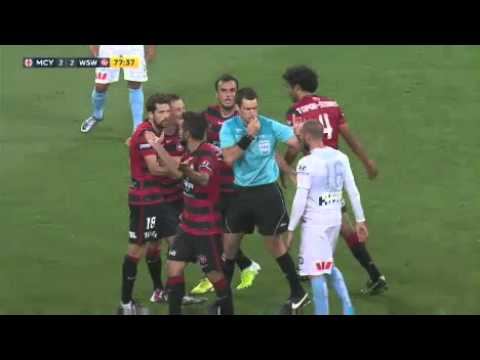Scott Jamieson of Western Sydney Wanderers touches opponent inappropriately