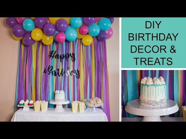 DIY BIRTHDAY PARTY DECOR, TREATS & HOMEMADE SPRINKLES - YouTube