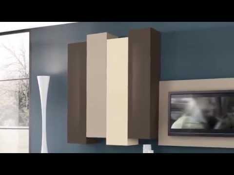 Mobili soggiorno Domino pareti attrezzate - Valentini - YouTube