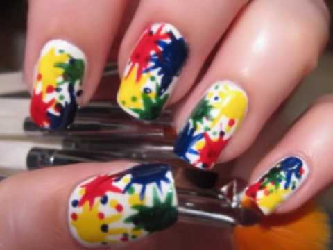 Easy paint splatter nails youtube easy paint splatter nails prinsesfo Choice Image