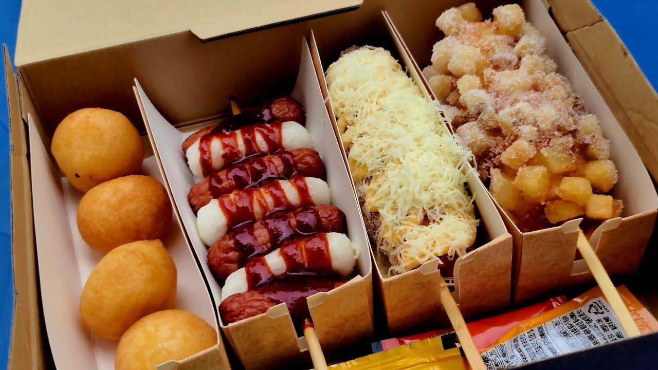 Popular cheese corn dog(hot dog) combo set in Korea - korean street food