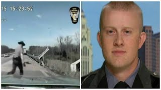 OFFICER RUNS TO WRECKED TRUCK BUT ONCE HE GETS TO DRIVER