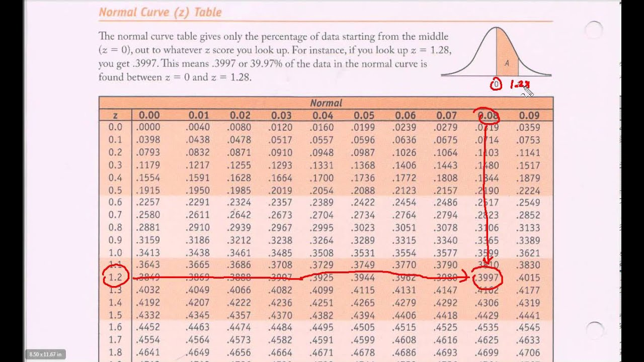Normal Distribution Table - Z-table Introduction - YouTube