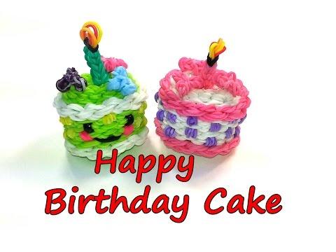Happy Birthday Cake Tutorial by feelinspiffy (Rainbow Loom)