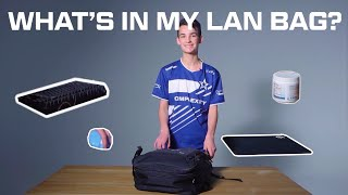 What does Obo bring with him in his LAN bag?