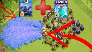 (CLASH OF CLANS [ MAX PEKKA X MAX CLONE SPELL ATTACK] 1 MAX PEKKA AND 6969 CLONE SPELLS)