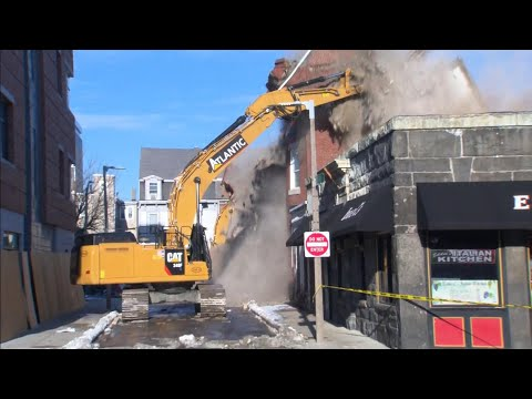 Raw Video: Partially Collapsed Building Demolished In East Boston