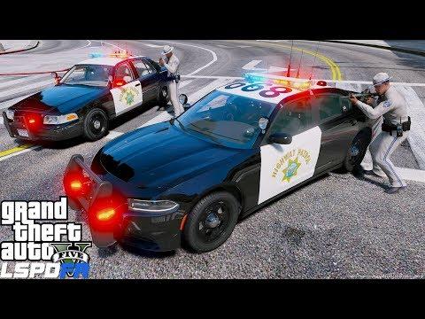 GTA 5 LSPDFR Police Patrol #694 2019 CHP Charger - California Highway Patrol Felony Traffic Stop