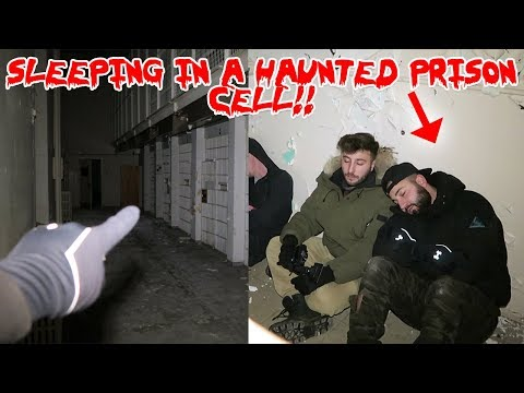 SLEEPING IN A HAUNTED PRISON CELL! ! GHOST SHADOW CAUGHT ON CAMERA