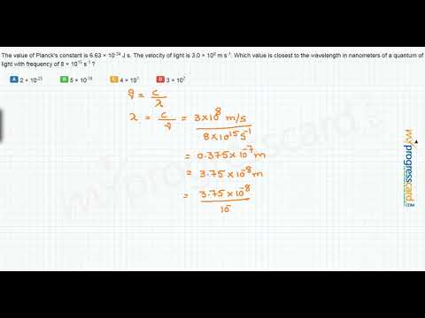 The value of Planck's constant is 6.63 × 10-34 J s