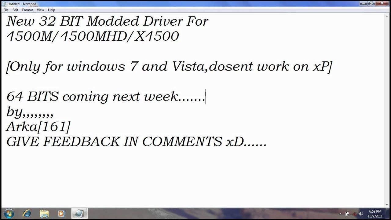 INTEL GMA 4500 MODDED DRIVERS FOR WINDOWS VISTA