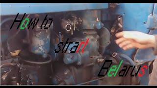 MTZ 52 D240 Как завести трактор с пускача [ how to start tractor with gasoline starting engine ]