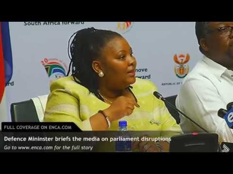 Defence Minister briefs the media on the disruptions in Parliament last week.