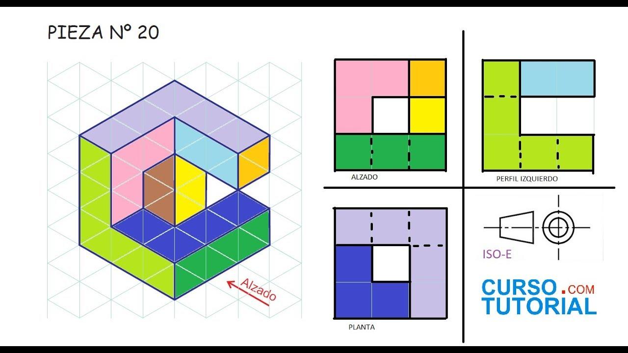 Alzado planta y perfil de una pieza e20 ejercicios de for Plano de planta dibujo tecnico
