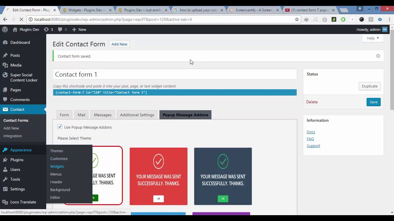 contact form 7 popup message addon plugin for wordpress youtube