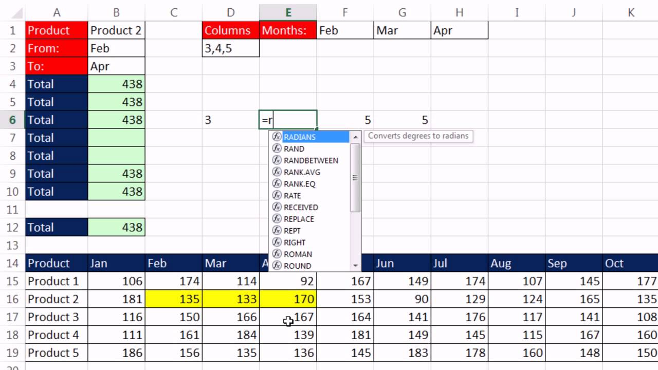 Excel Magic Trick Dynamic Range Based On Product And