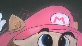 Live! SMB3 Raccoon Mario Chalk Drawing (HD)
