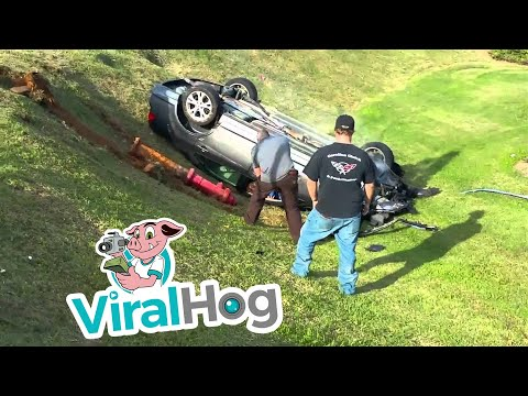 Woman does donuts and rams police car in Gastonia NC intersection || ViralHog