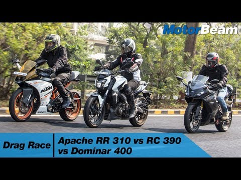 Apache RR 310 vs KTM RC 390 vs Dominar 400 - Drag Race | MotorBeam