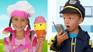 Sofia and Max pretend play Ice Cream Delivery truck and Toys