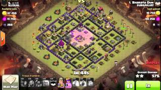 clash of clans gowipe attack strategy th9 vs th9 golem wizard & pekka clan war 3 star by bharata dun