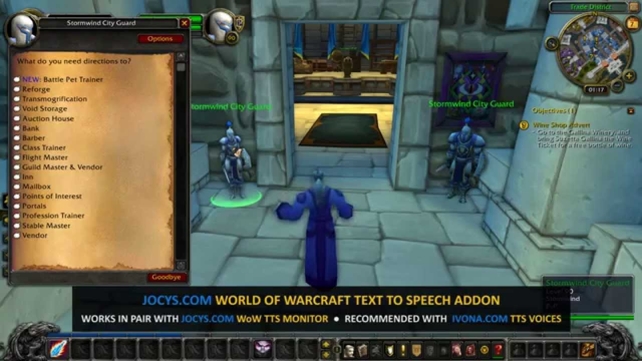 Jocys com Text to Speech Monitor and WoW Addon