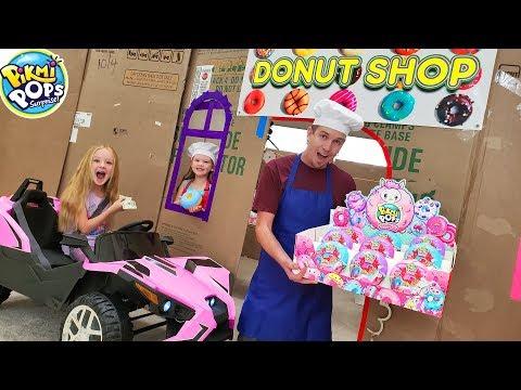 Box Fort Drive Thru Donut Shop! Driving Cars Buying Pikmi Pops Doughmi Toys!