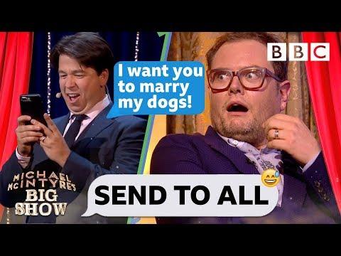 3379f9ff94df Michael McIntyre s hilarious dog wedding text prank on chatty man Alan Carr  💒 🐩🐕 😂