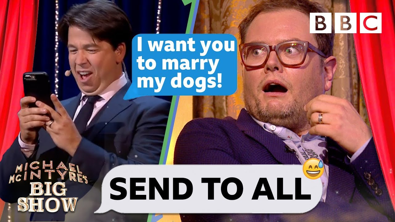 Michael McIntyre's absurd dog wedding text prank leaves Alan Carr in stitches 💒 🐩🐕 😂 - Send To All