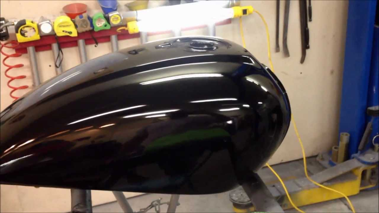 finishing a paint job on motorcycle a gas tank at the ugg sanding and. Black Bedroom Furniture Sets. Home Design Ideas