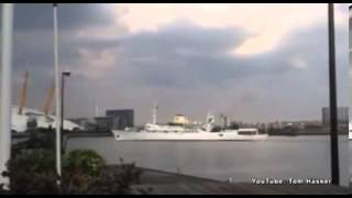 The Christina O super yacht filmed leaving London docks