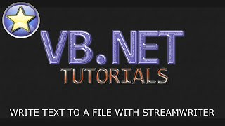 VB.NET Tutorial For Beginners - Writing To A File With StreamWriter (Visual Basic .NET)