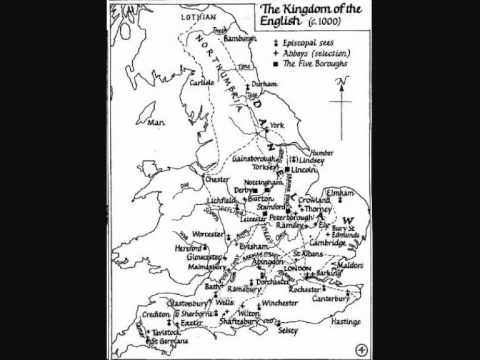 Ancient Maps - Kingdom of the English circa 1000