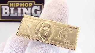 $100 Bill Money Benjamins 10K Yellow Gold Ring