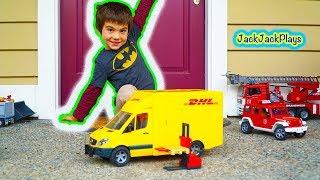 Bruder Trucks Surprise Toy Unboxing: DHL Sprinter + Forklift | Kid Playing