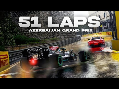 F1 2021 Gameplay Baku 100% Race (Wet Weather & Sim Damage)