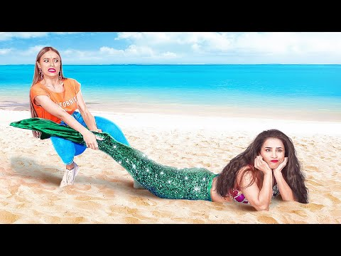 24 HOURS AS A MERMAID CHALLENGE || Funny Mermaid Situations by 123 GO!